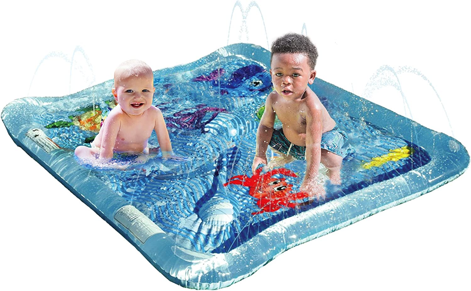 KLEEGER Baby Pool Splash Mat: Infant Water Play Mat Toy With Spraying Water. For Boys & Girls | Great for Beach, Deck & Backyard