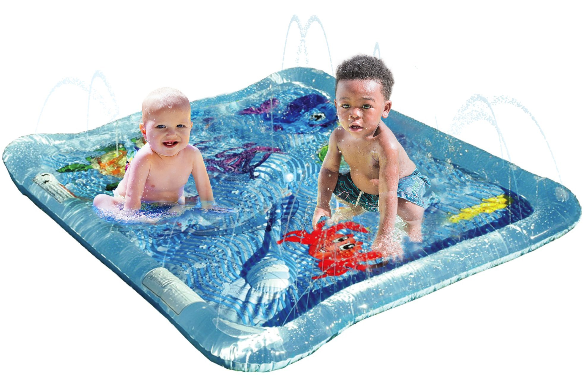 KLEEGER Baby Wading Kiddie Pool: Outdoor Squirt & Splash Water Fun For Toddlers, Simple Instant Set Up (Square Sea Theme)