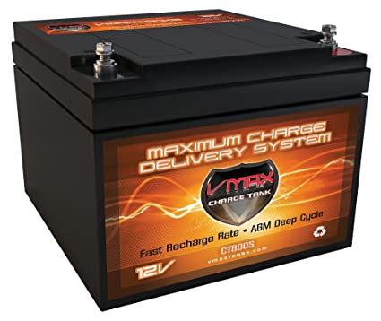 Vmaxtanks V28-800S 12V 28AH AGM deep cycle SLA battery for Use with  trolling motors, PV Solar Panel wind turbine gas or electric power backup