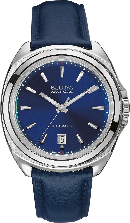 Bulova Accu Swiss Telc Reloj Automático de Hombre con Esfera analógica Azul Pantalla y Correa de Piel Color Azul 63b185