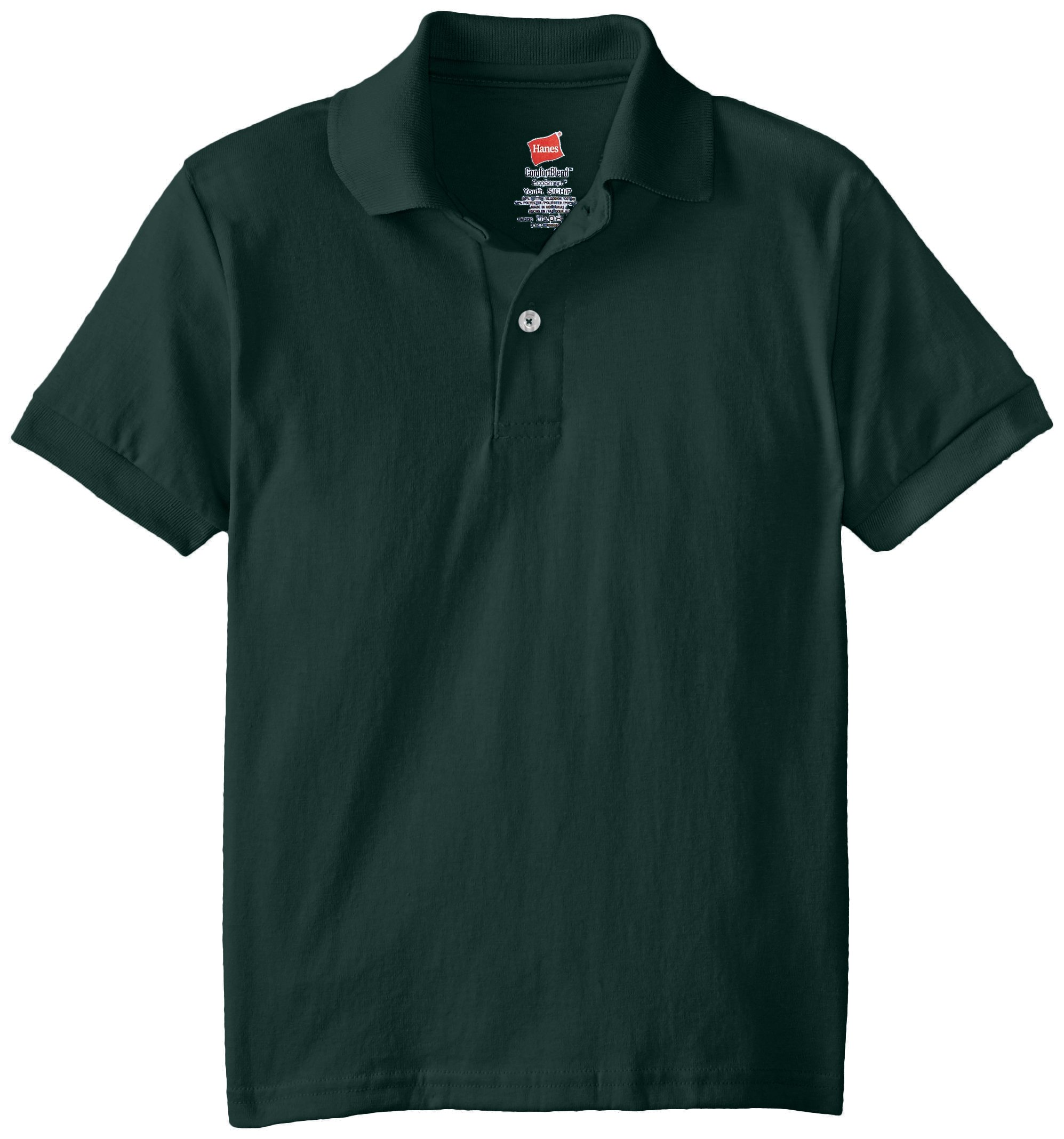 Hanes Little Boys' Short Sleeve Eco Smart Jersey Polo, Deep Forest, x Small