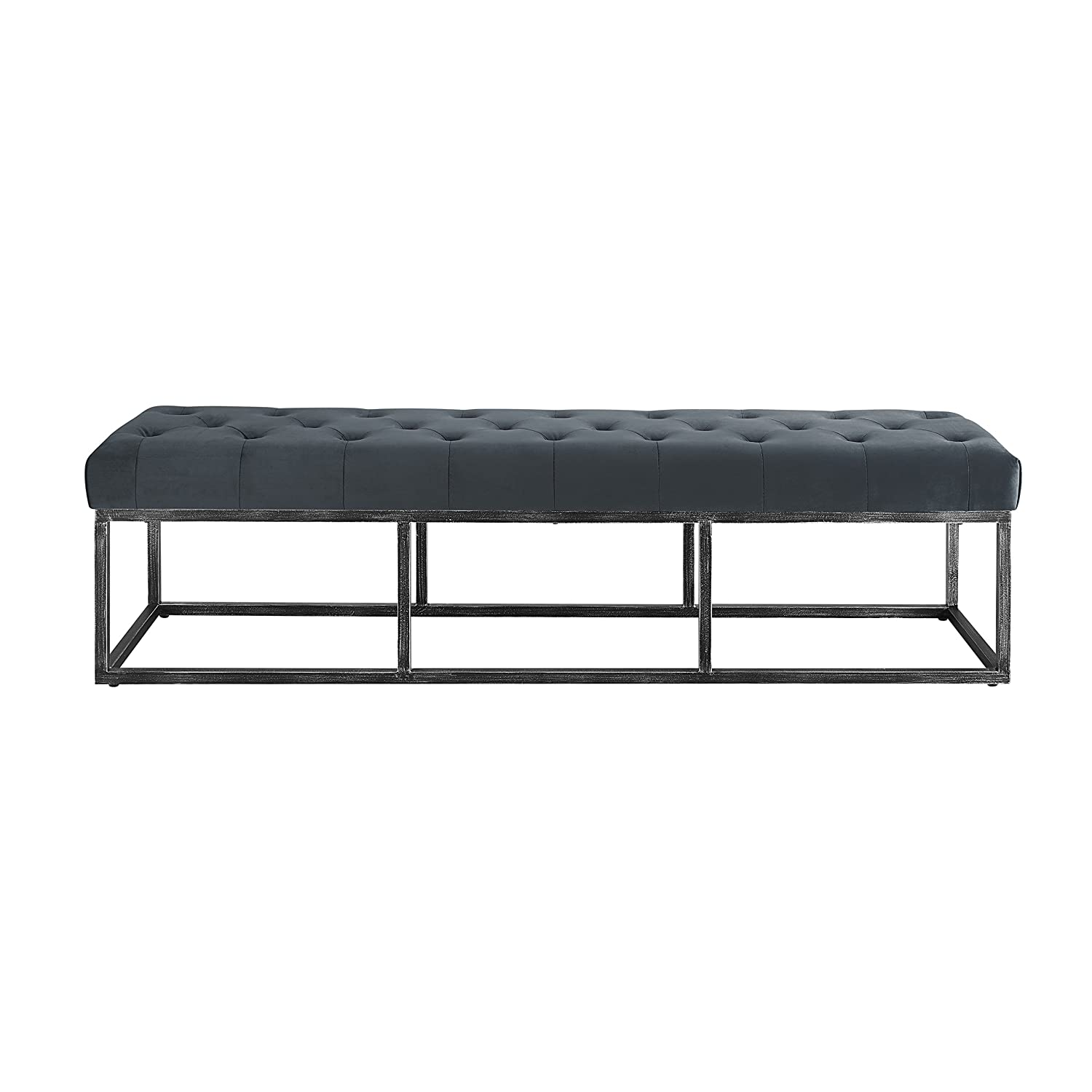 Brilliant Serta Danes Tufted Bench With Iron Legs Cobalt Blue Pabps2019 Chair Design Images Pabps2019Com