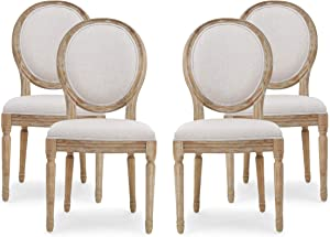 Christopher Knight Home Hilary French Country Fabric Dining Chairs (Set of 4), Beige + Natural