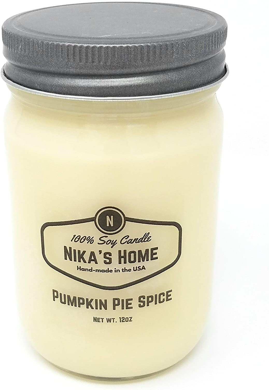 Nika's Home Pumpkin Pie Spice Soy Candle - 12oz Mason Jar