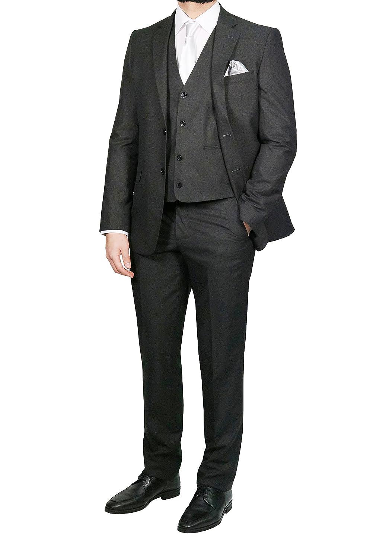MMUGA Elegante Herrenanzug mit Weste Anthrazit Anthrazit Anthrazit B00V6E38OE Anzüge Fashionista c31262