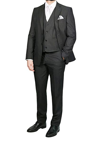 MUGA para hombre traje elegante con chaleco, 120S, antracita ...