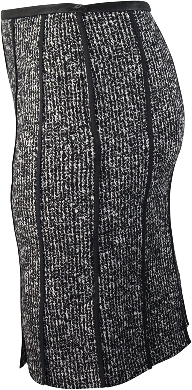 Evelin Brandt Berlin Womens Tweed Pleated Skirt Plus Size Black//White 44 46