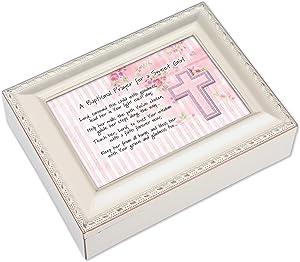 Cottage Garden Baptismal Prayer Girl Ivory Music Box/Jewelry Box Plays Ave Maria