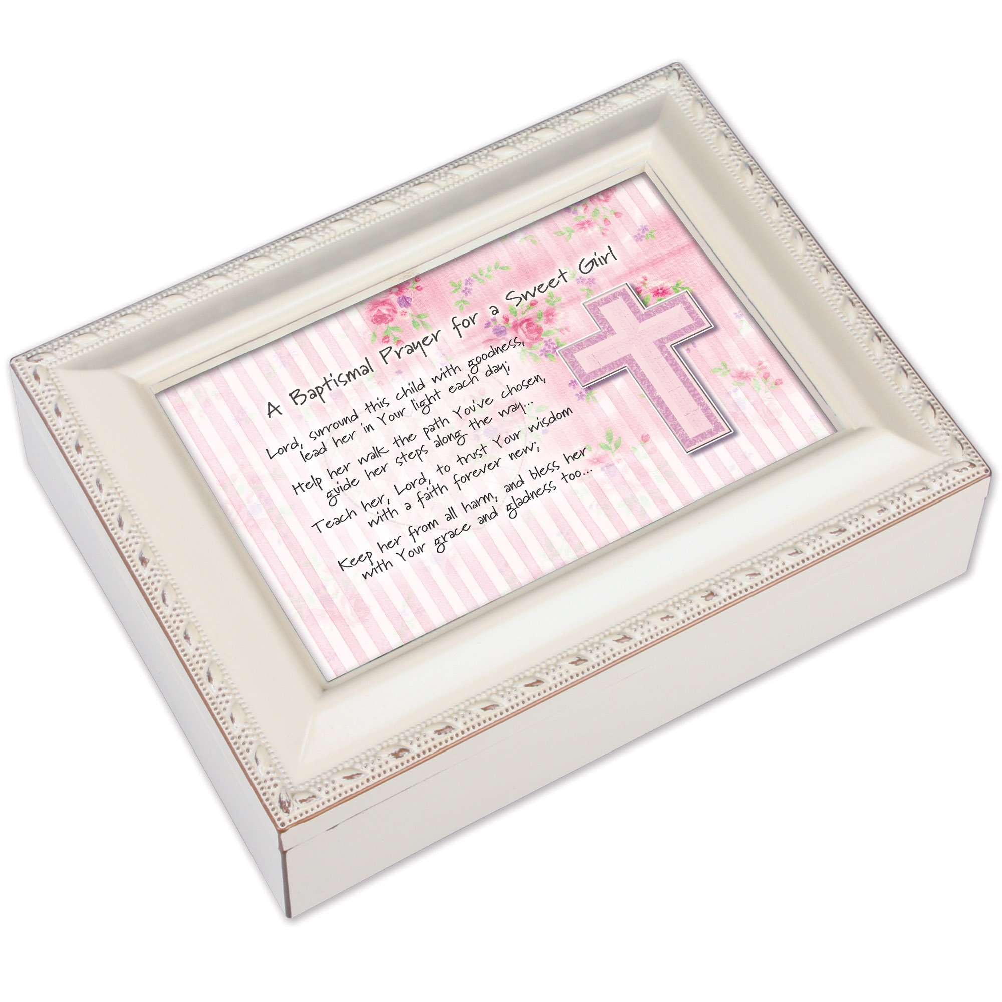 Cottage Garden Baptismal Prayer Girl Ivory Music Box/Jewelry Box Plays Ave Maria by Cottage Garden