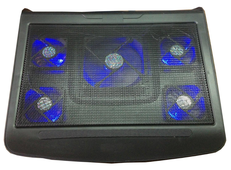 TRENDSKY Jumbo - Ventilador para portátil (5 ventiladores, caballete, 2 conexiones USB Hub para 15,6