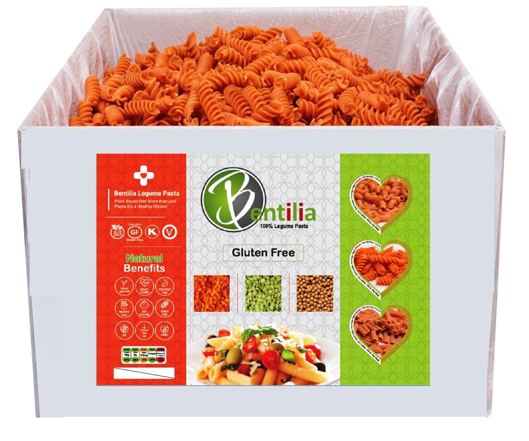 Bentilia Organic Gluten-Free Lentil Pasta, Red Lentil Rotini Organic, 10 lb, Bulk Case - 100% Natural, Low Glycemic Index, High Protein & Fiber, Non-GMO, Kosher Pasta