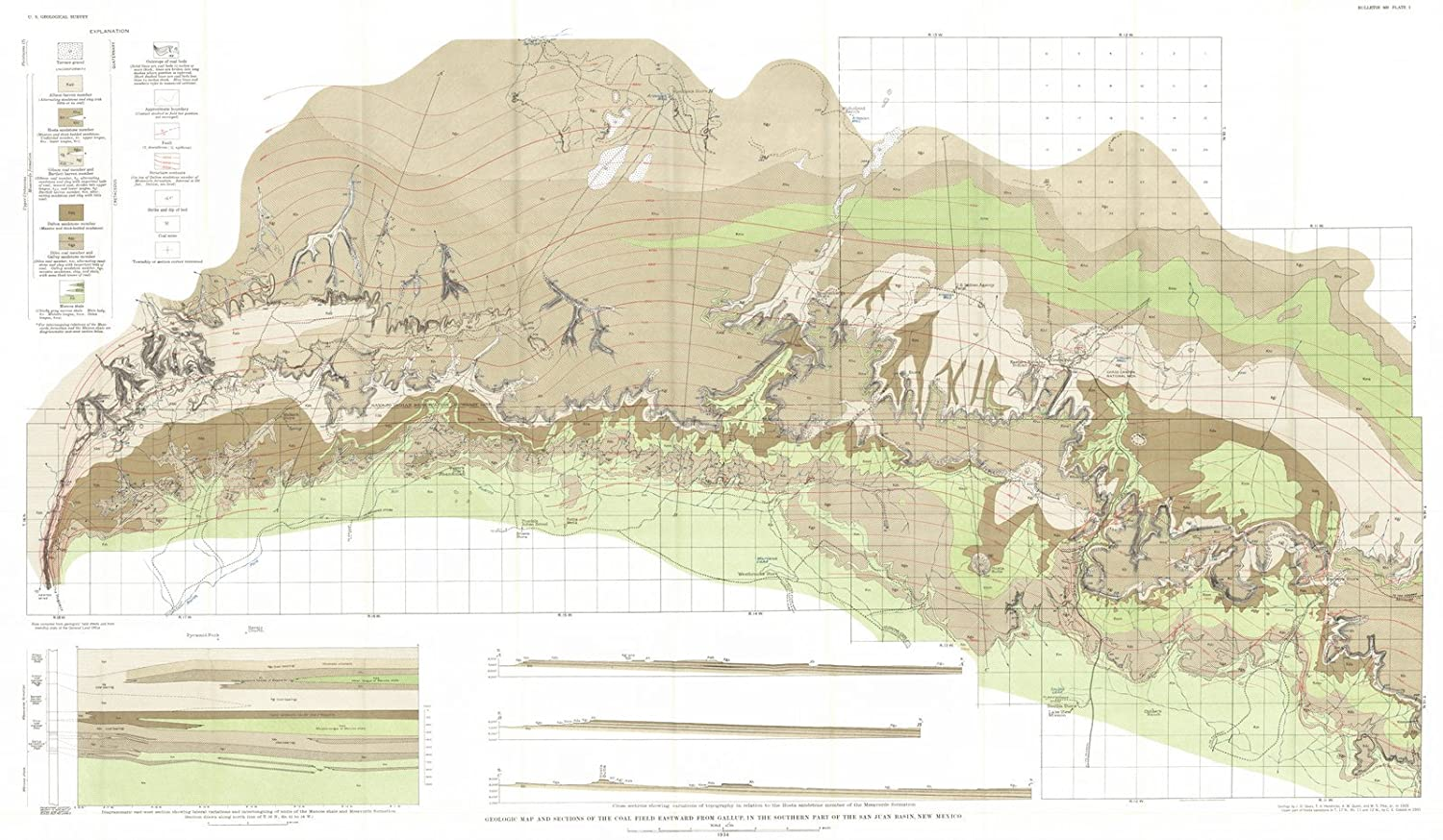Amazon.com: Vintage Map | 1934 Geologic map and sections of ...