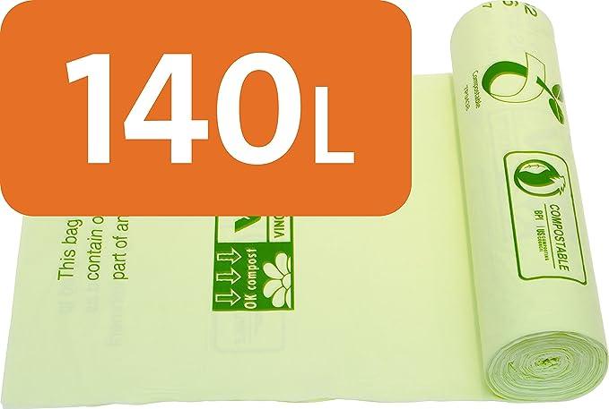 Alina 140L con ruedas – bolsas de basura compostables residuos de jardín/ Compost bolsa/bolsa de basura/biodegradable verde 140 litros saco con Alina guía de compostaje, 3 sacks: Amazon.es: Hogar