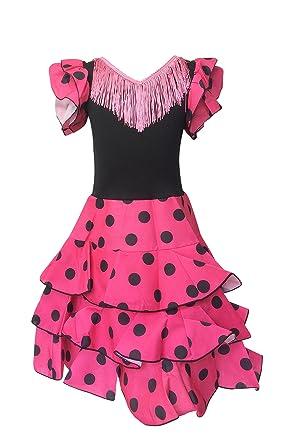 La Senorita Vestido Ropa Flamenco Niño Español Traje de Flamenca Chica/niños Rosa Negro