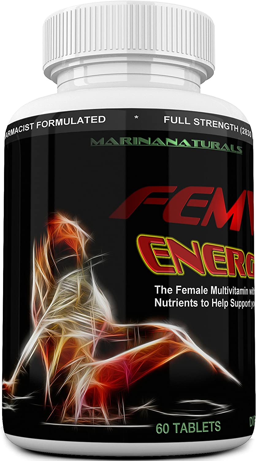 FEMVIT Energy Booster The Female Multivitamin, Multi-Minerals and Herbal Extracts That Helps Enhance Your Energy and Focus Too. 60 Tablets