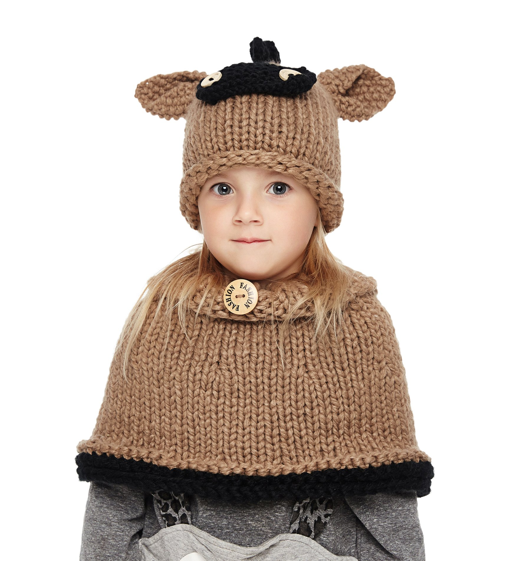 Sumolux Girls Kids Warm Little donkey Hats and Scarf Set Knitted Coif Hood/Shawl Beanies for Winter