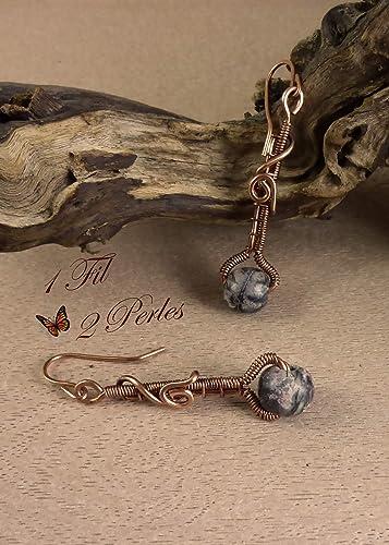Boucles D'oreille Cuivre Wire Et Wrapping JaspeBijou Celtique tsCdxQrhB