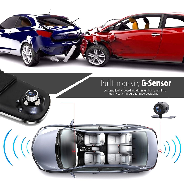 4,3, DVR, sistema de grabaci/ón de v/ídeo en Full HD, 1080p, sensor de movimiento integrado, funci/ón de grabaci/ón en bucle Pyle PLCMDVR46 Monitor de visi/ón trasera para c/ámara de salpicadero