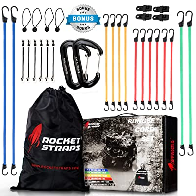 ROCKET STRAPS | (30) PC Bungee Cords with Hooks | Bungee Cord Assortment Includes | Tie Downs | Ball Bungees | Carrying Bag
