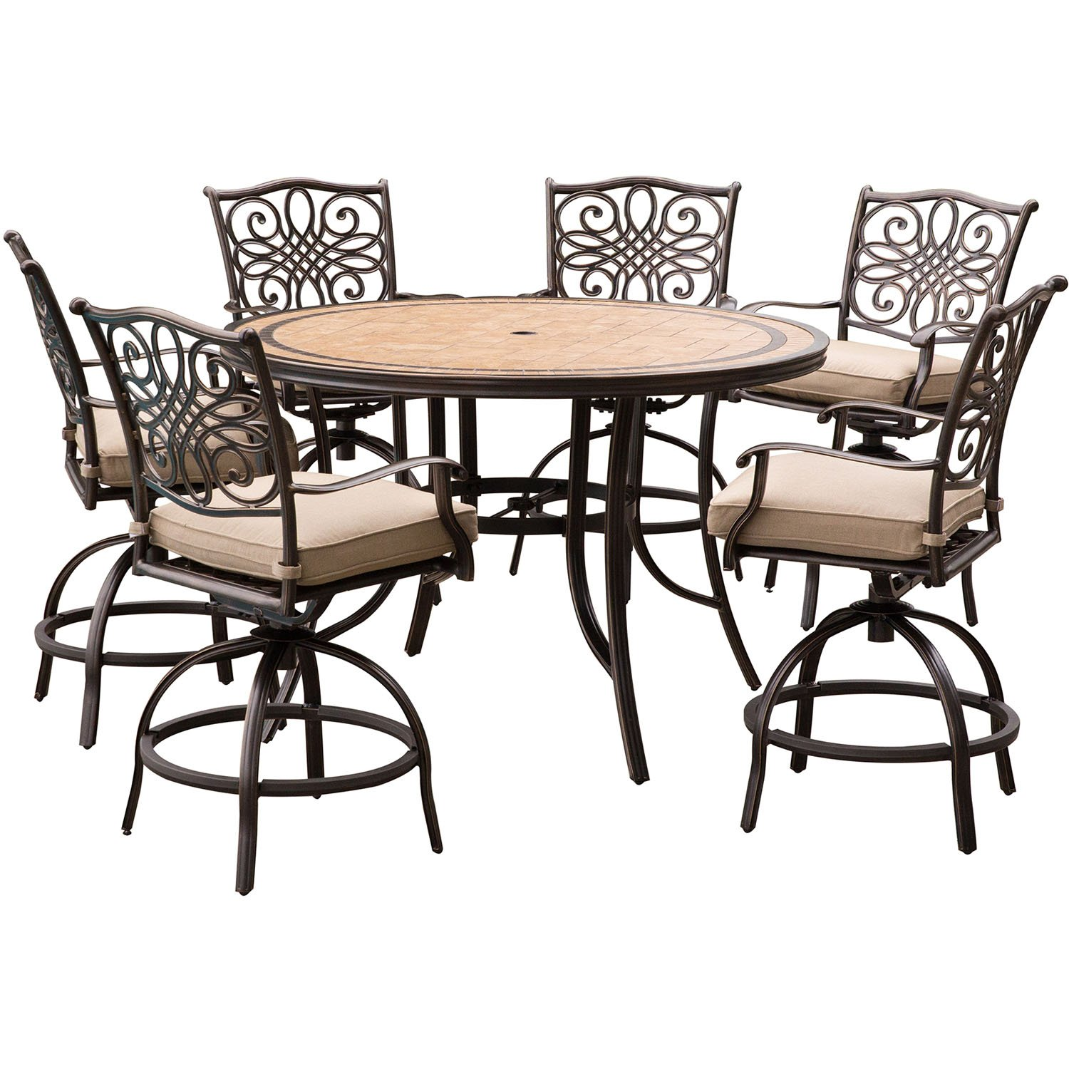 Hanover mondn7pcbr c p monaco 7 piece high dining set in tan with a 56 in tile top table and 6 swivel chairs outdoor furniture