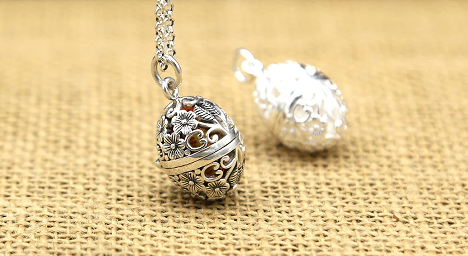 AMDXD Jewelry Men Women S925 Sterling Silver Pendant Necklaces Plum Blossom Hollow Gawu Box Pendant