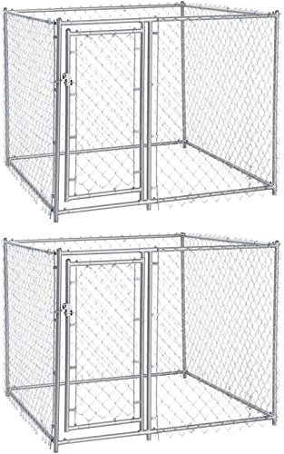 Lucky Dog 5 x 5 x 4 Foot Heavy Duty Outdoor Chain Link Dog Kennel 2 Pack