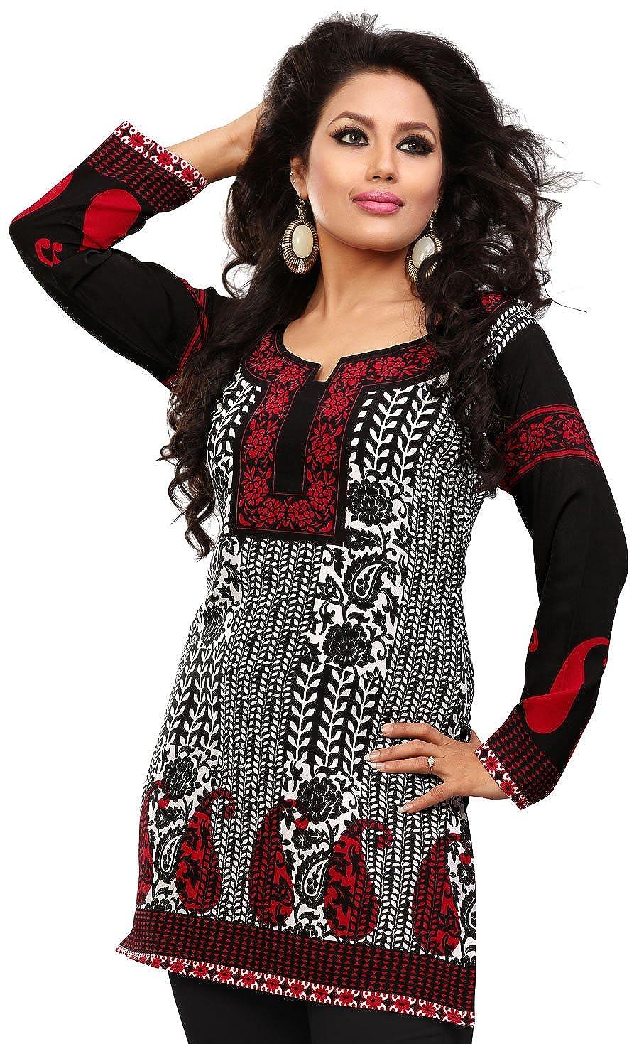 Long India Tunic Top Womens Kurti Printed Black Blouse Indian ...