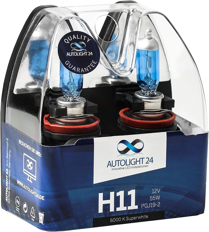 Autolight 24 2 X H11 55w Xenon Look Halogen Lampen 6000 Kelvin Nebelscheinwerfer Auto