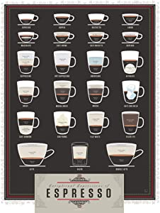 Pop Chart: Poster Prints (16x20) - Espresso Infographic - Printed on Archival Stock - Features Fun Facts About Your Favorite Things