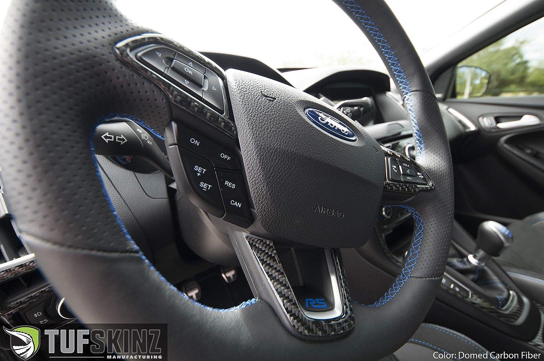 3 Piece KIT Real Carbon Fiber ST TufSkinz Steering Wheel Trim FITS 2015-2018 Ford Focus Domed RS
