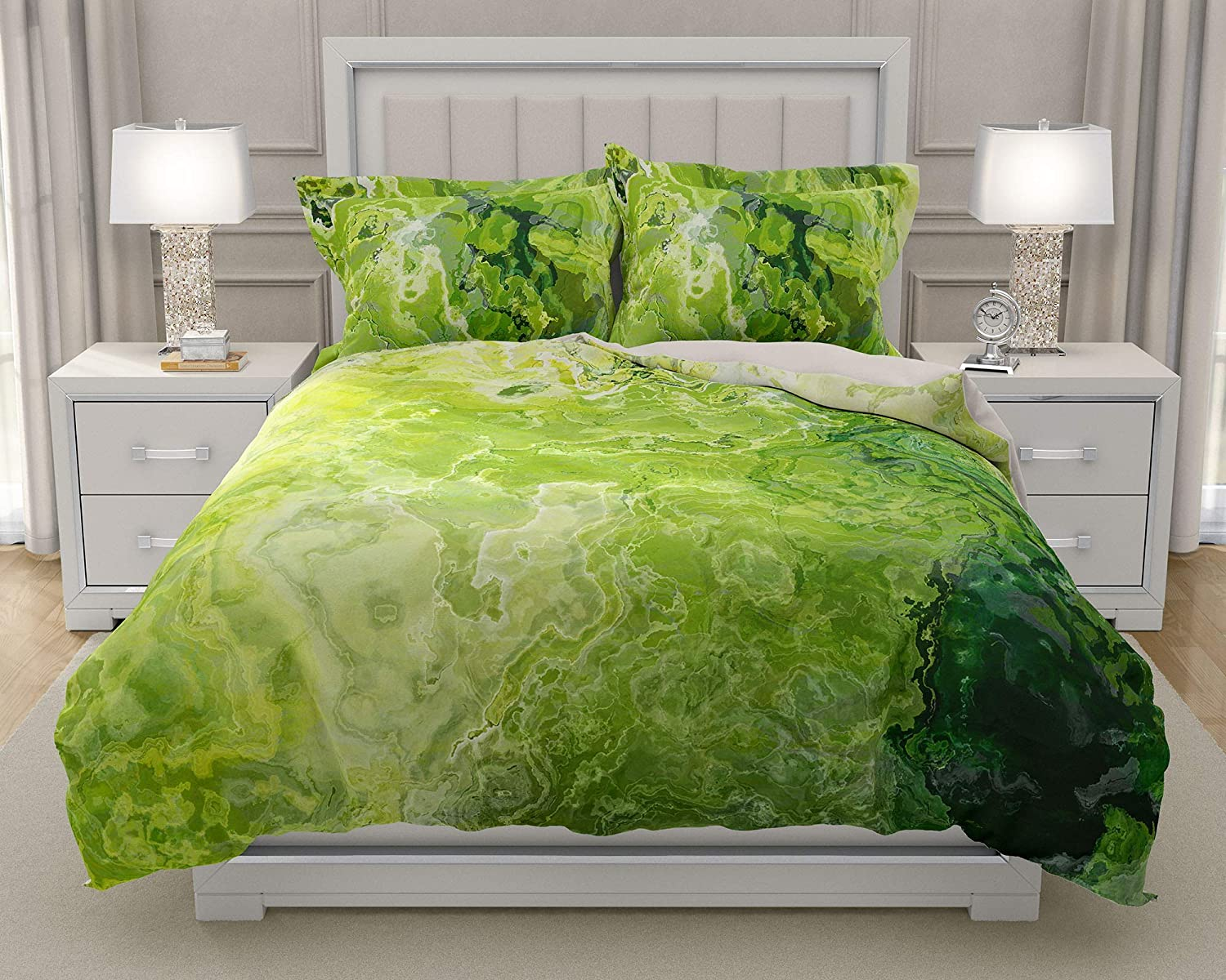Image of Home and Kitchen King or Queen 3 pc Duvet Cover Set with abstract art, Green Daze