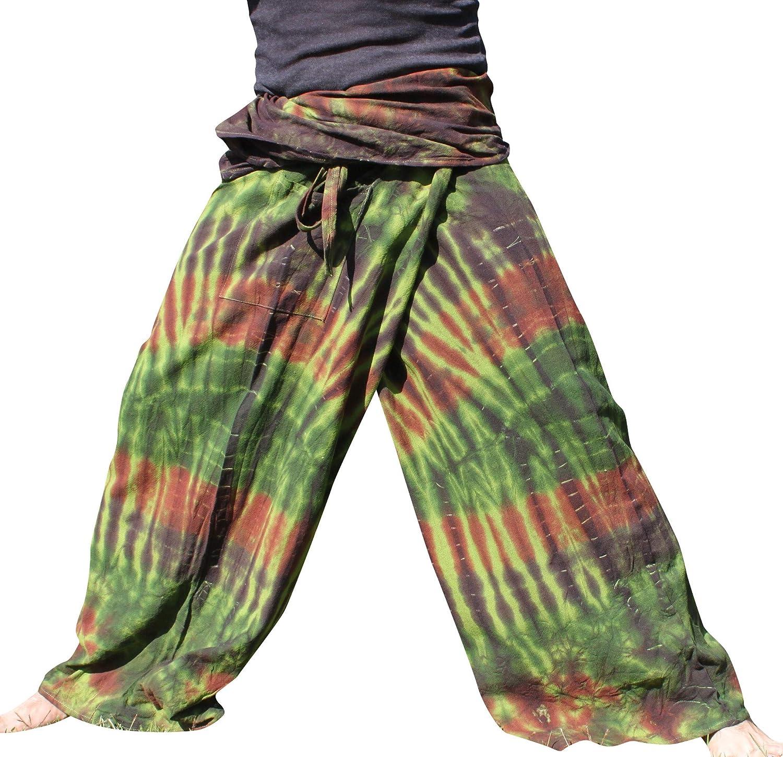 RaanPahMuang Thick Muang Cotton Thai Fishermans Pants Vibrant Tie Dye Tall Plus variant34490AMZ