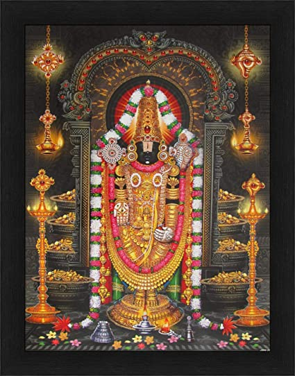 Avercart Lord Tirupati Balaji Poster with Synthetic Wood Photo Frame (12x16  Inches/30x40 cm, Multicolour)