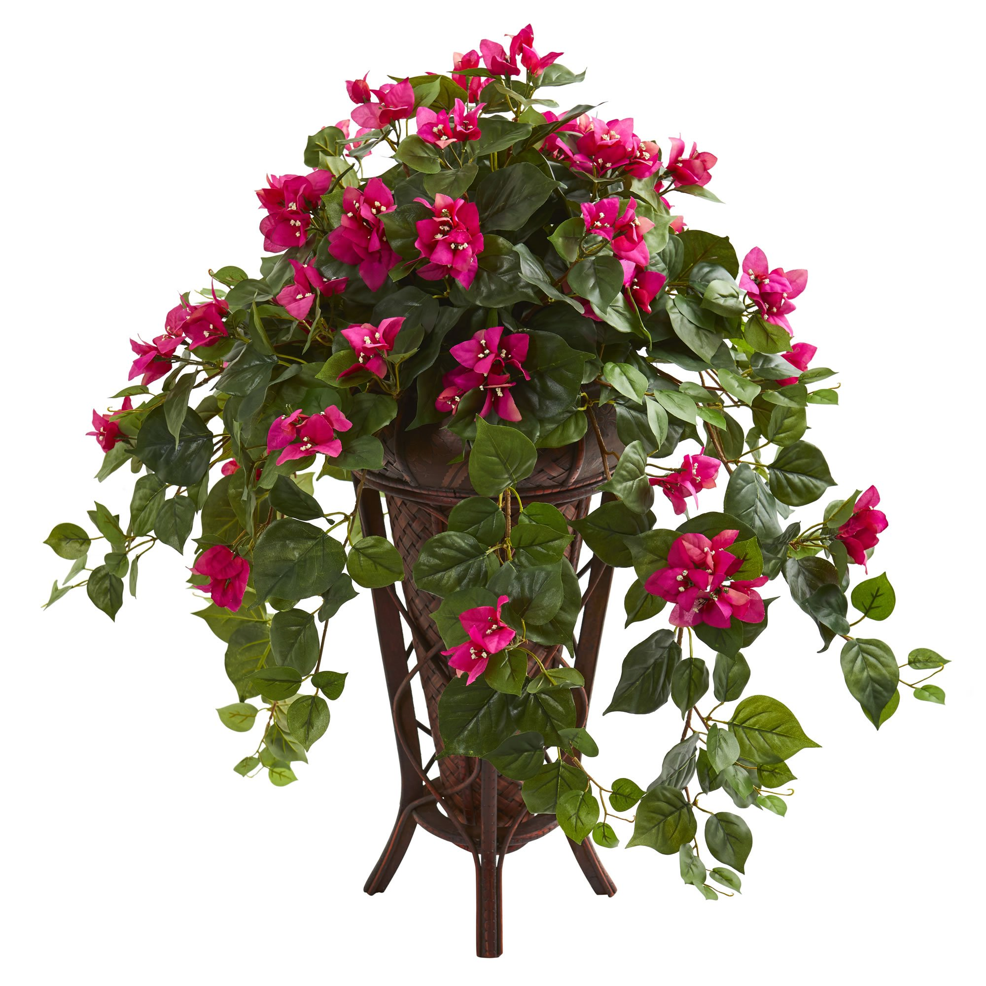 Nearly Natural 8180-BU Bougainvillea Artificial Stand Planter Silk Plants Pink