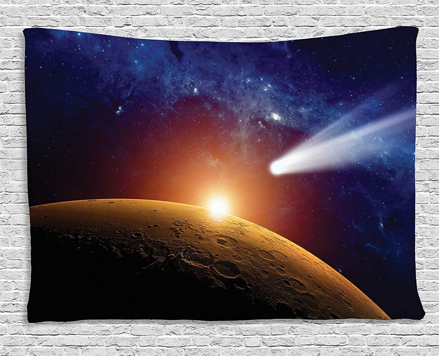 XHFITCLtd Outer Space Decor Tapestry, Comet Tail Approaching Planet Mars Fantastic Star Cosmos Dark Solar System Scenery, Wall Hanging for Bedroom Living Room Dorm, 60 W X 40 L, Blue and Orange