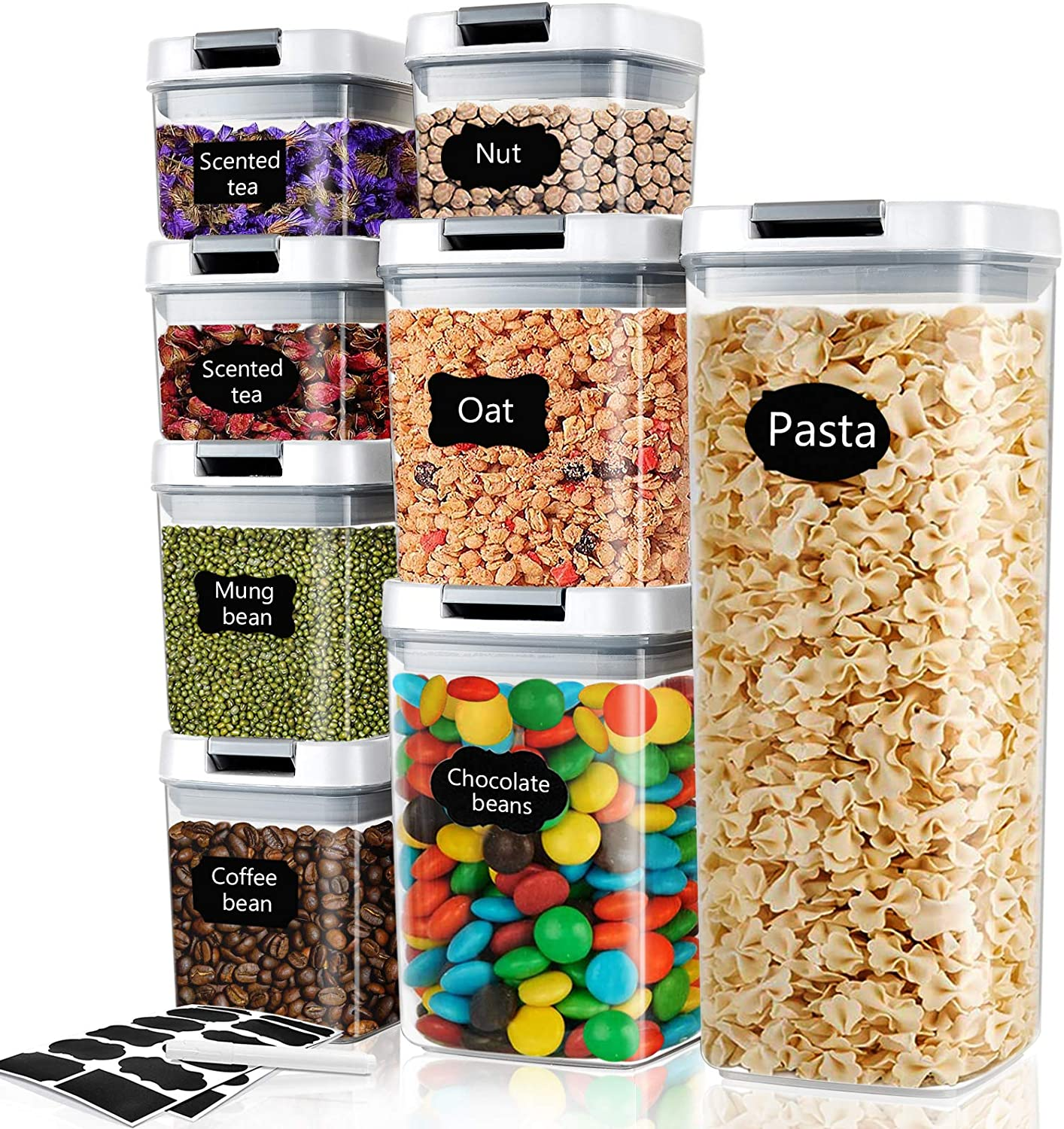 Air Tight Food Storage Containers with Lids Set of 8: Leakproof Air-tight Locks BPA Free Dry Food Container Kitchen Pantry Cabinet Food Storage Container Sets with Labels, Marker