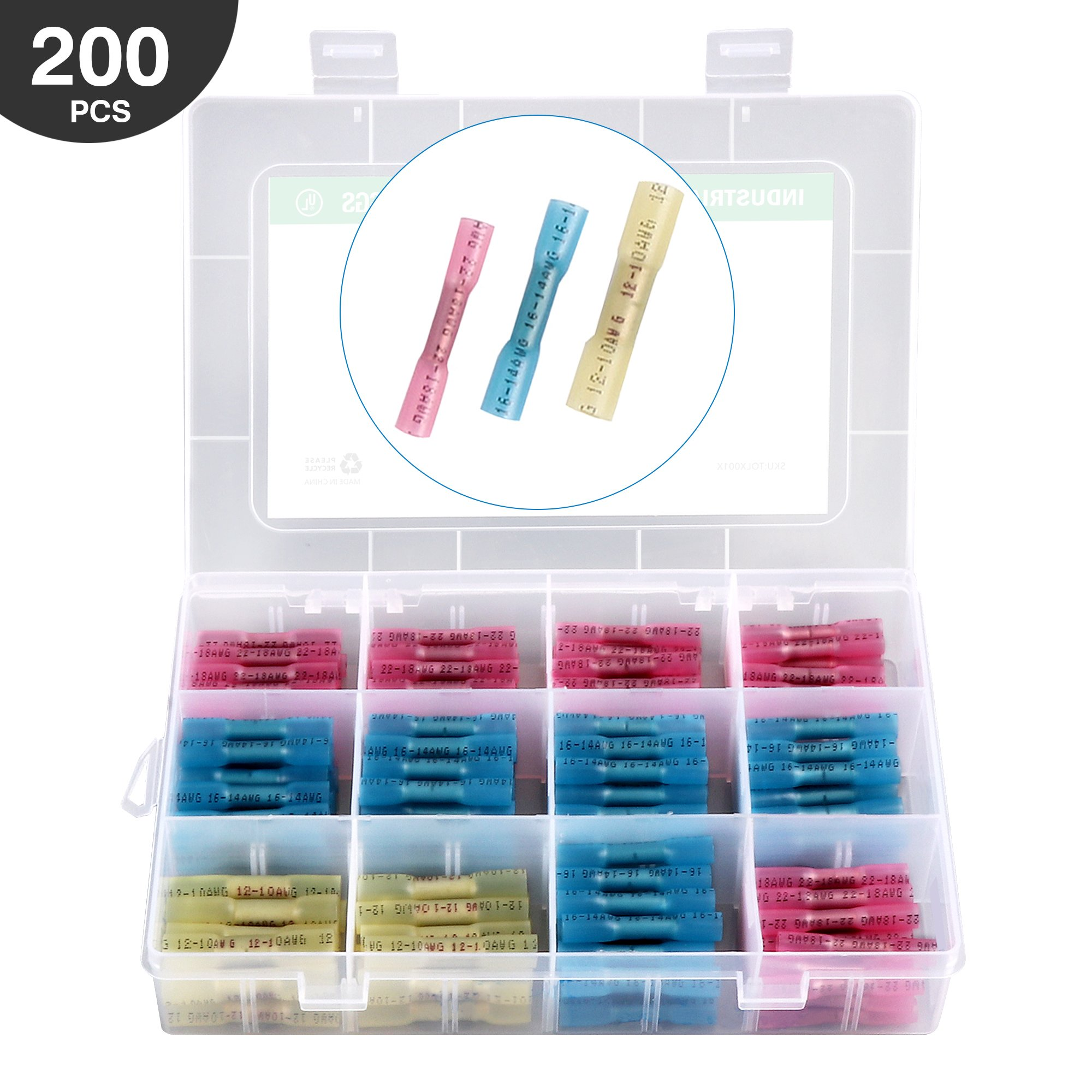 Heat Shrink Tubing, Nozama Heat Shrink Tubing Kit 200 Pcs Pvc Heat-Shrink Tubes 3 Colors 5 Sizes Electric Insulation Tube Kit With Box