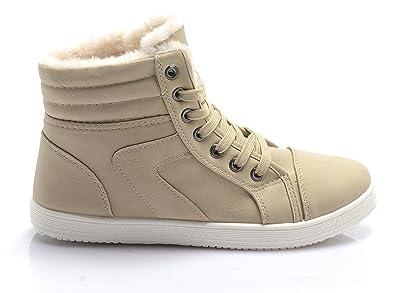 e5e4f2252ca New Womens Ladies Fur Lined Winter Hi Top Trainers Pumps Flats Girls Shoes  Size 3-