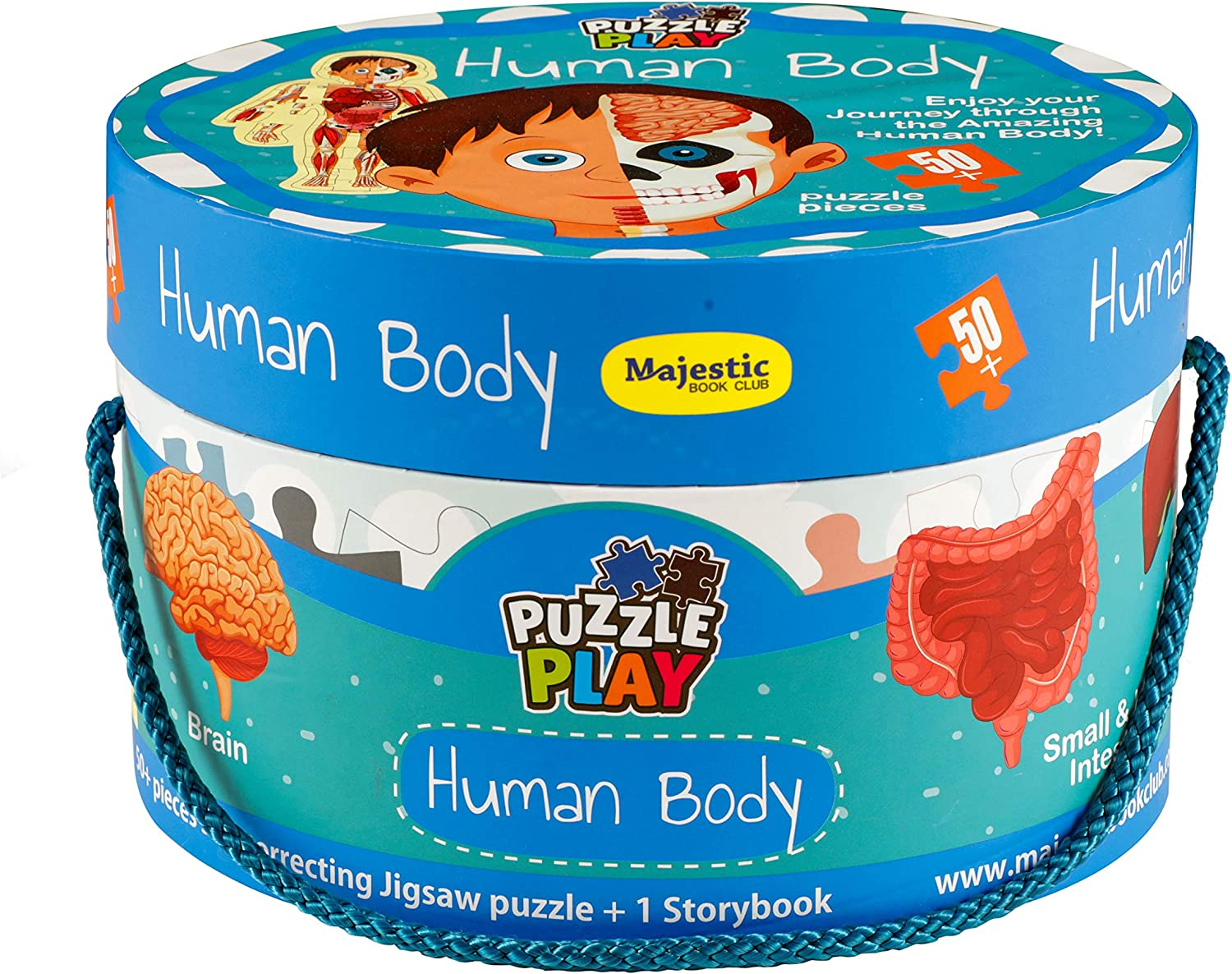 THE BOOK TREE 50 Piece Big Size Puzzle Play Human Body Puzzle Set with 1 Story Board Book for Children