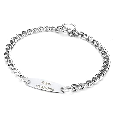 Mogoko Personalized Stainless Steel Dog Choke Chain Collar