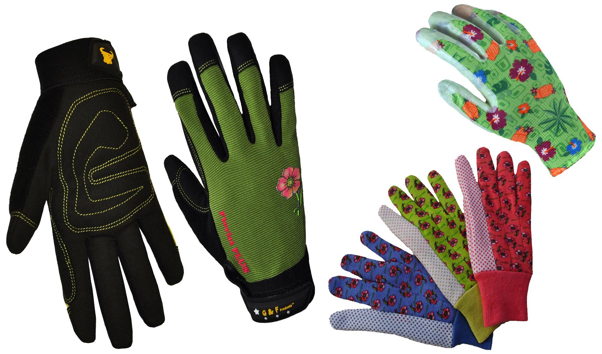 G & F 1093-1519-18523L Garden gloves assortment, 3 styles, Women's, Large, 5 pairs