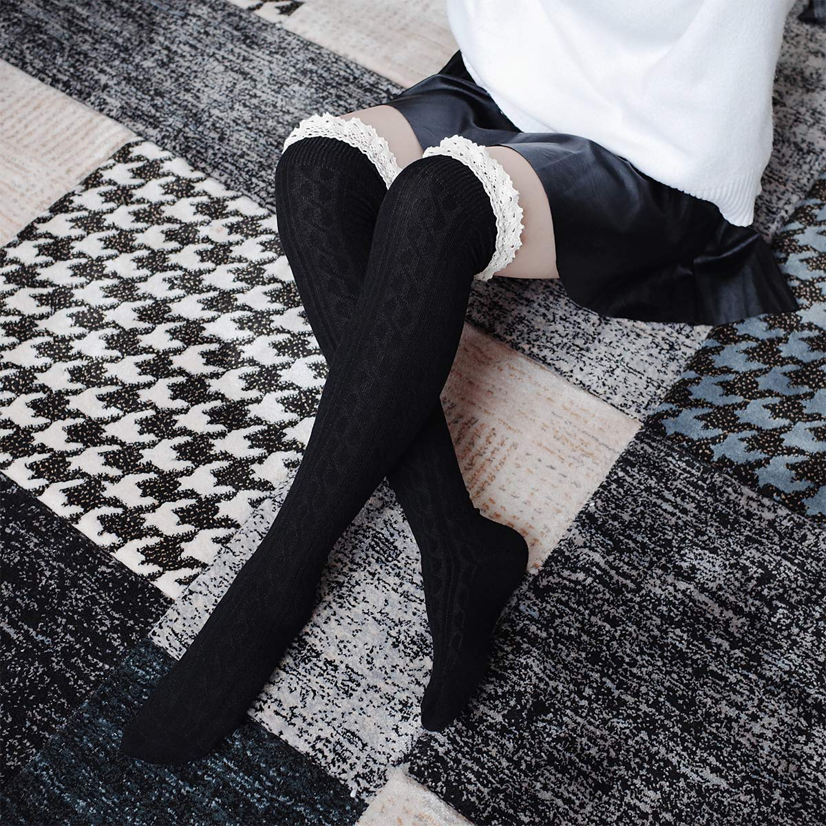 84dcc0d3c07 Ordenado Women s Thigh High Socks Valentine s Winter Cable Knit Lace Over  Knee Socks at Amazon Women s Clothing store