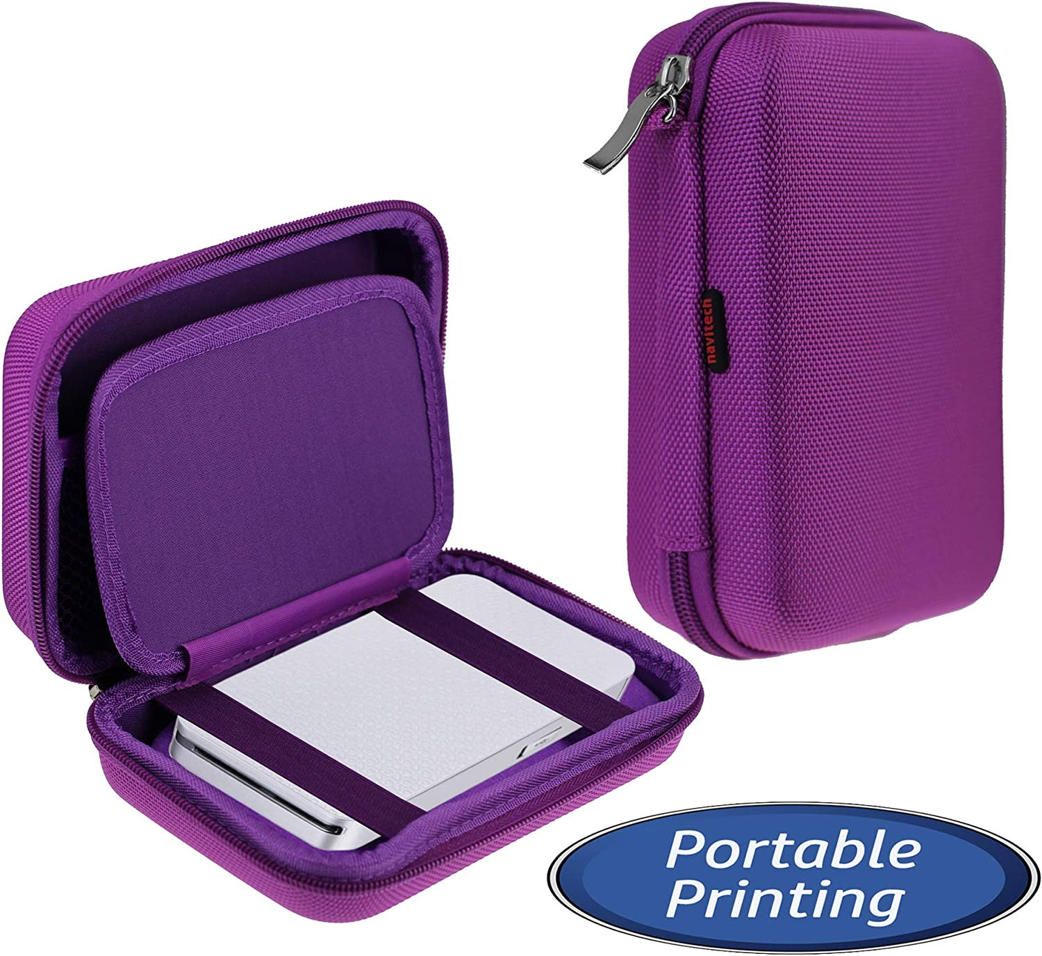 Navitech Purple Pocket/Portable/Mobile Printer Carrying Case Compatible with The HP Sprocket Plus (Mesh Pocket Compatible with The Cable and Printing Paper)