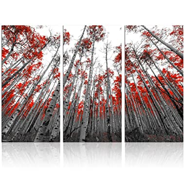 Landscape Canvas Wall Art,Modern Wall Art,Nature Picture Art,Canvas Prints,Oil Painting,Autumn Forest Wall Decor,Wall Decoration (Winter Birch Forest Large)