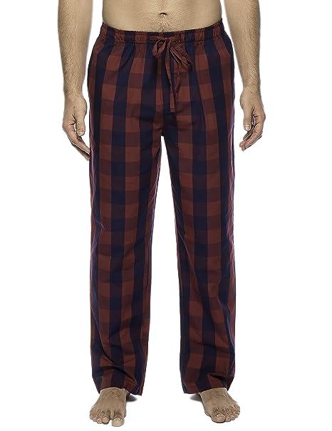 Noble Mount Twin Boat Pantalon Pijama de Algodón - Gingham Rosso/Azul Marino - 3XL