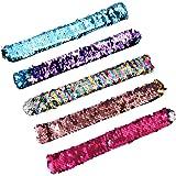 Yolito 5 Pack Mermaid Slap Bracelets Reversible Magic Sequin Bracelets Toys 2-Color with Comfortable Velvet Lining Birthday for Kids