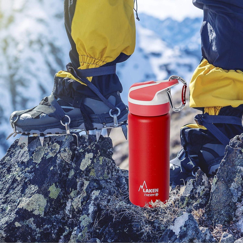 con Mosquet/ón de 6 cm. PracticFood Pack Botella T/érmica Laken Summit en Acero Inoxidable de 0.35L Doble Pared de Vac/ío