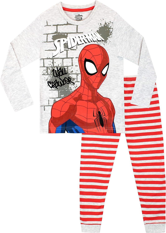 Marvel Pijamas de Manga Larga para ni/ños El Hombre Ara/ña
