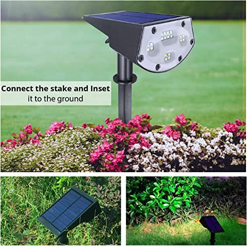 Solar Plus LE-05 20 LEDs Spotlights, IP67 Waterproof Powered Wall 2-in-1 Wireless, Outdoor Solar Landscaping Light for Yard Garden Driveway Porch Walkway 2-Pack