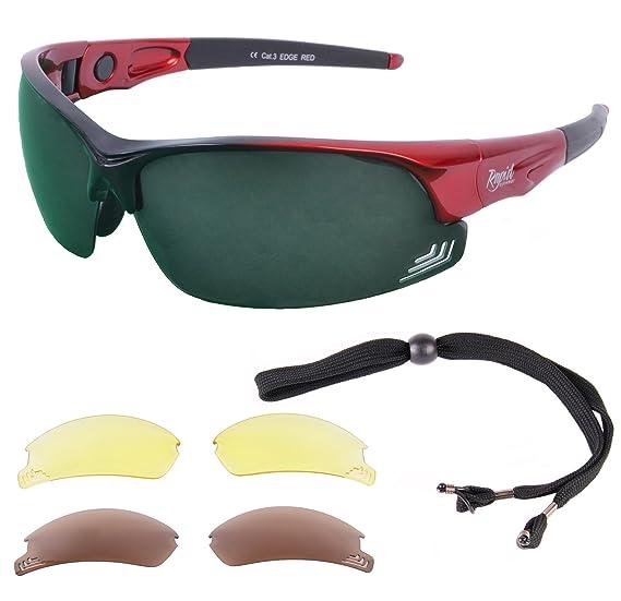 18fb29338513 Rapid Eyewear Edge Red GOLF SUNGLASSES for Men   Women with Interchangeable POLARIZED  GREEN MIRROR